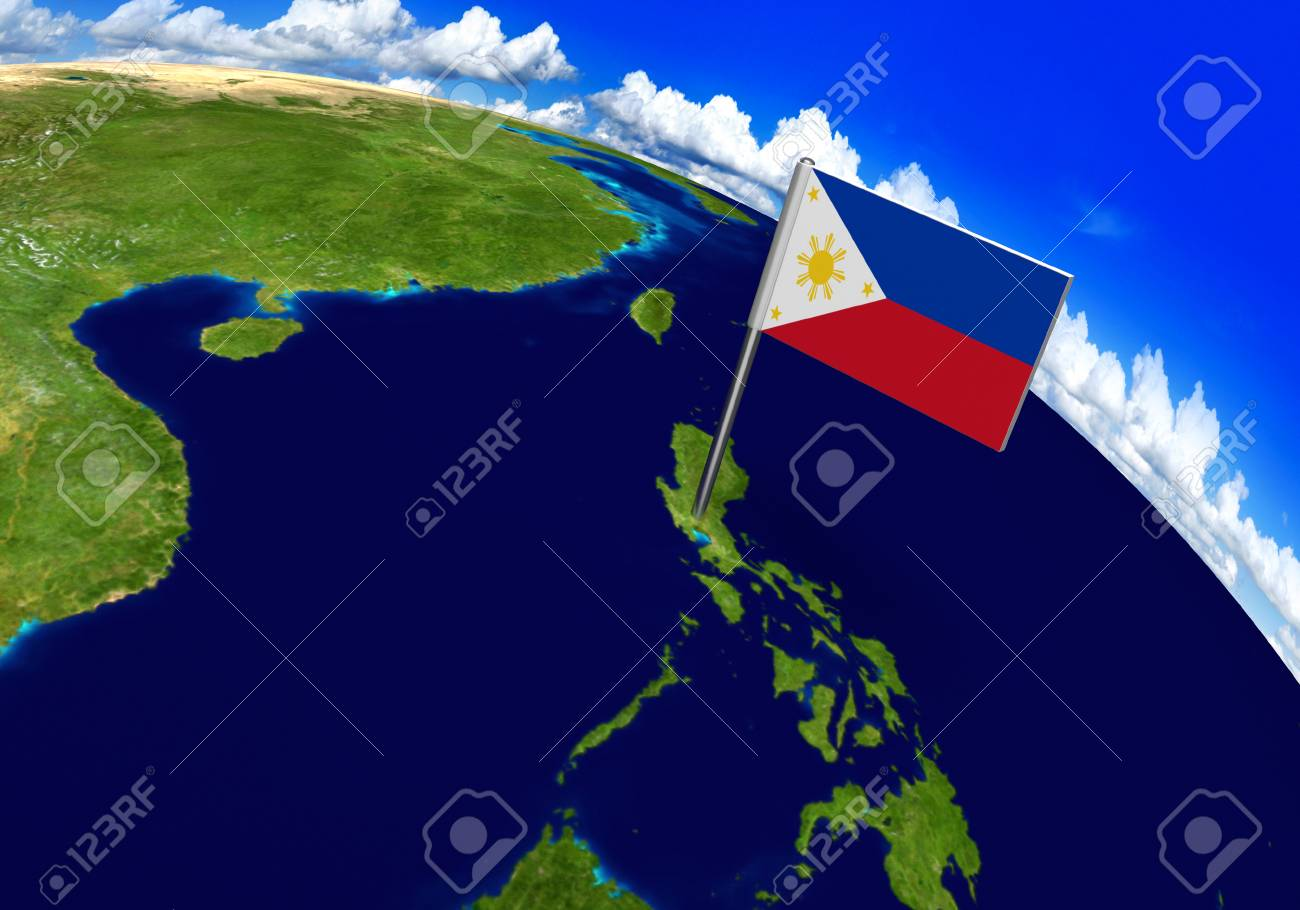 Flag marker over country of philippines on world map 3d rendering flag marker over country of philippines on world map 3d rendering parts of this image gumiabroncs Gallery