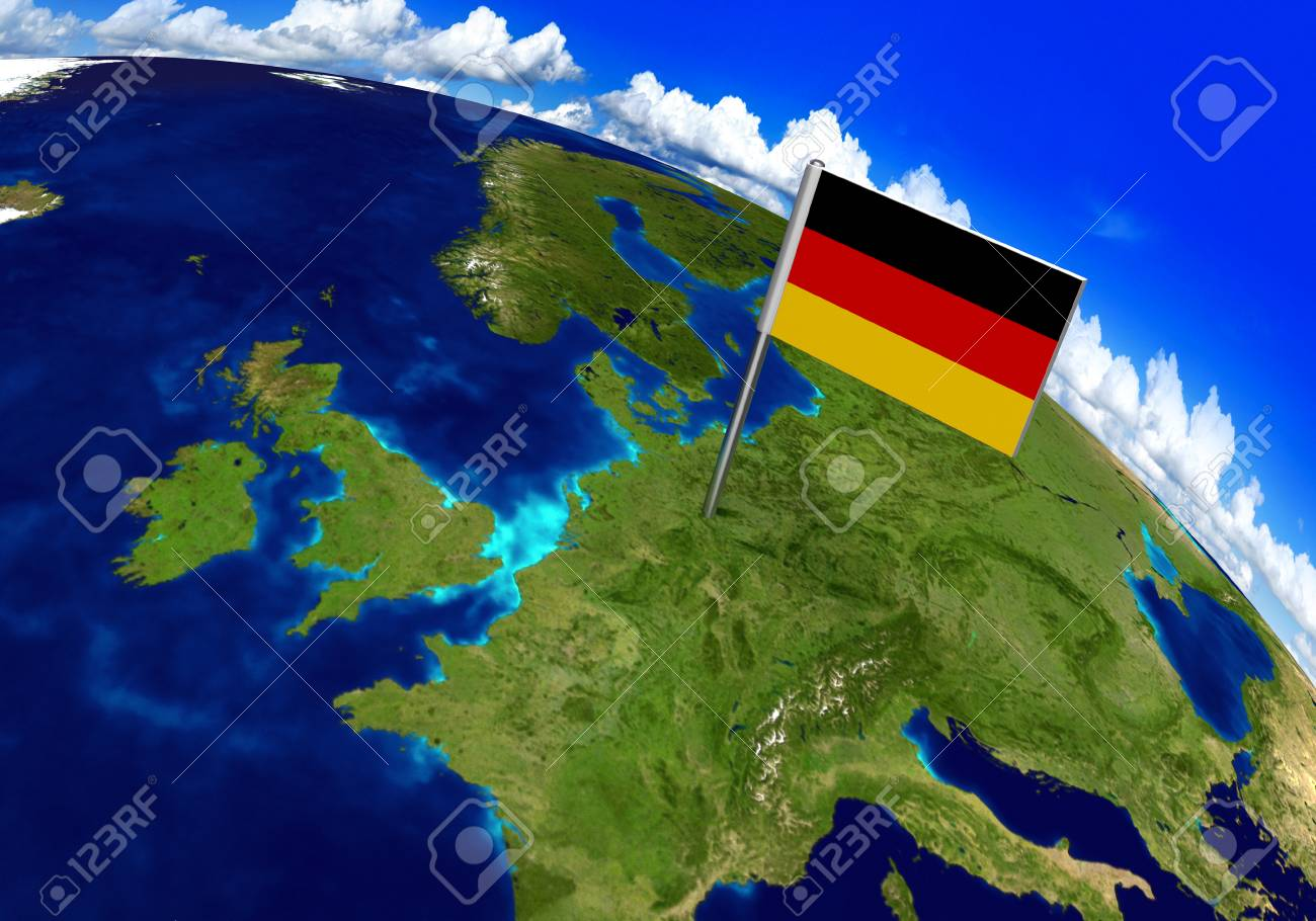 Flag marker over country of germany on world map 3d rendering flag marker over country of germany on world map 3d rendering parts of this image gumiabroncs Gallery