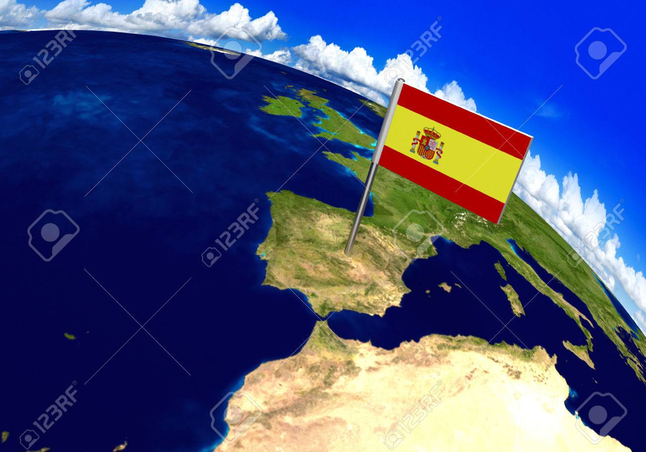 Flag marker over country of spain on world map 3d rendering stock flag marker over country of spain on world map 3d rendering parts of this image gumiabroncs Gallery