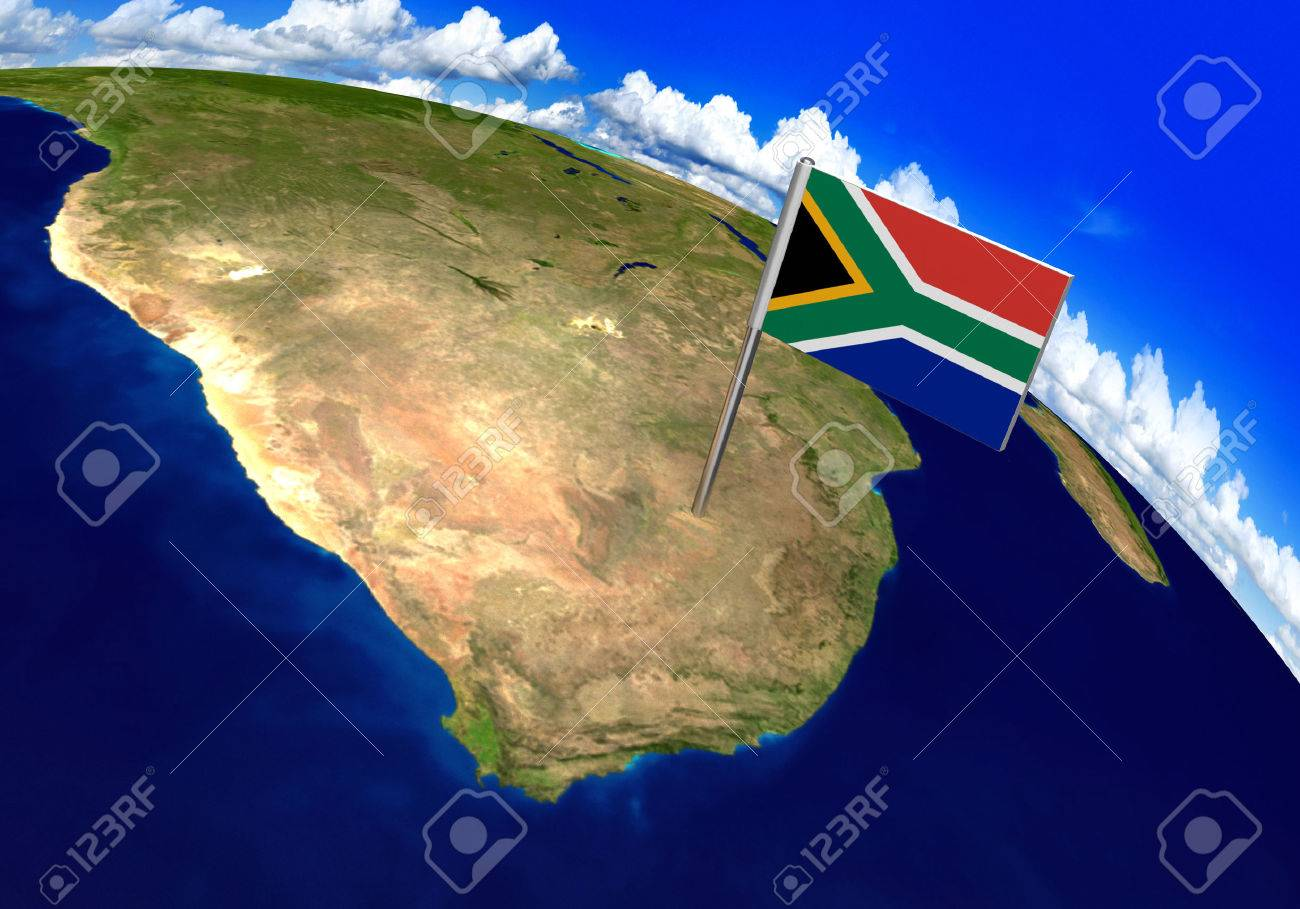 Flag Marker Over Country Of South Africa On World Map 3D Rendering