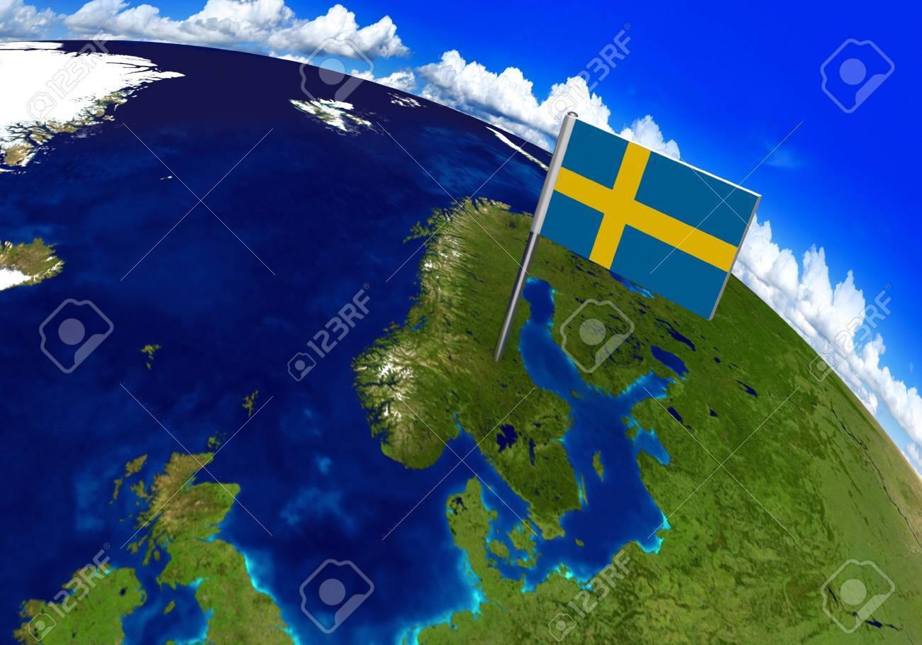 Flag marker over country of Sweden on world map 3D rendering,..