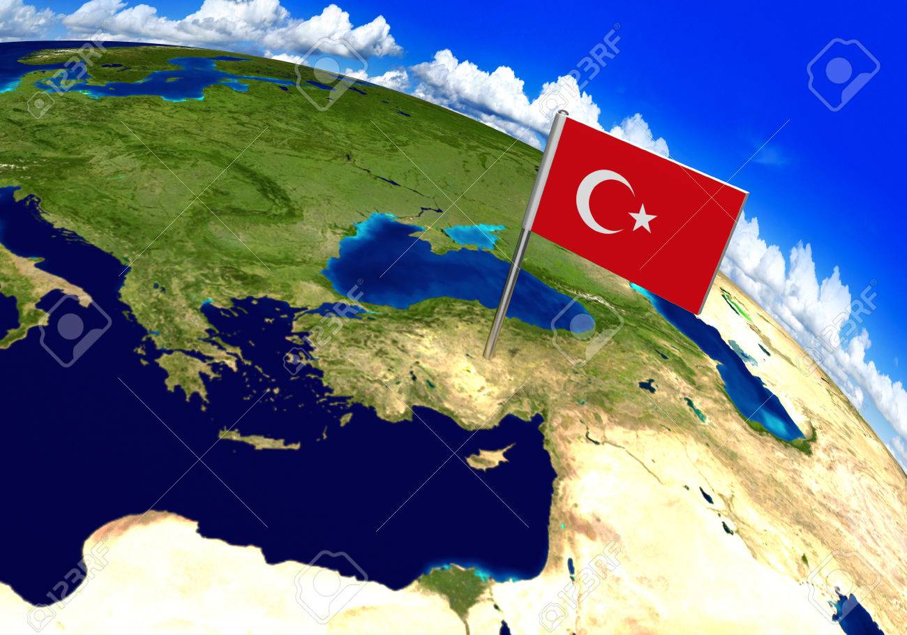 Flag Marker Over Country Of Turkey On World Map 3D Rendering ...