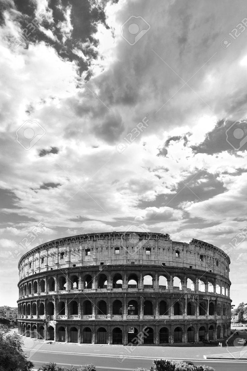 High contrast black and white of the ancient roman coliseum in rome italy stock photo