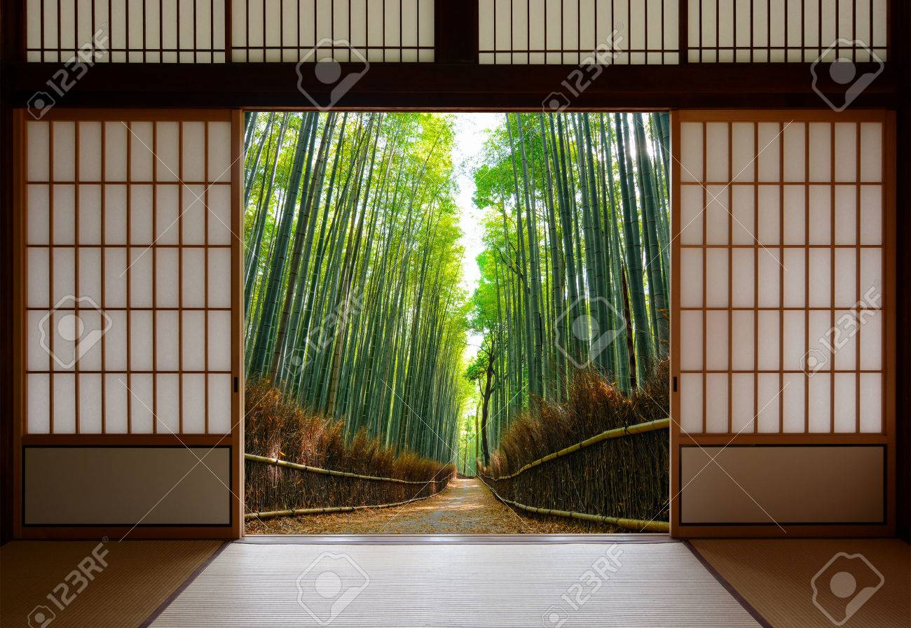 Stock Photo - Travel background of Japanese rice paper doors opened to a peaceful bamboo forest path : paper doors - pezcame.com