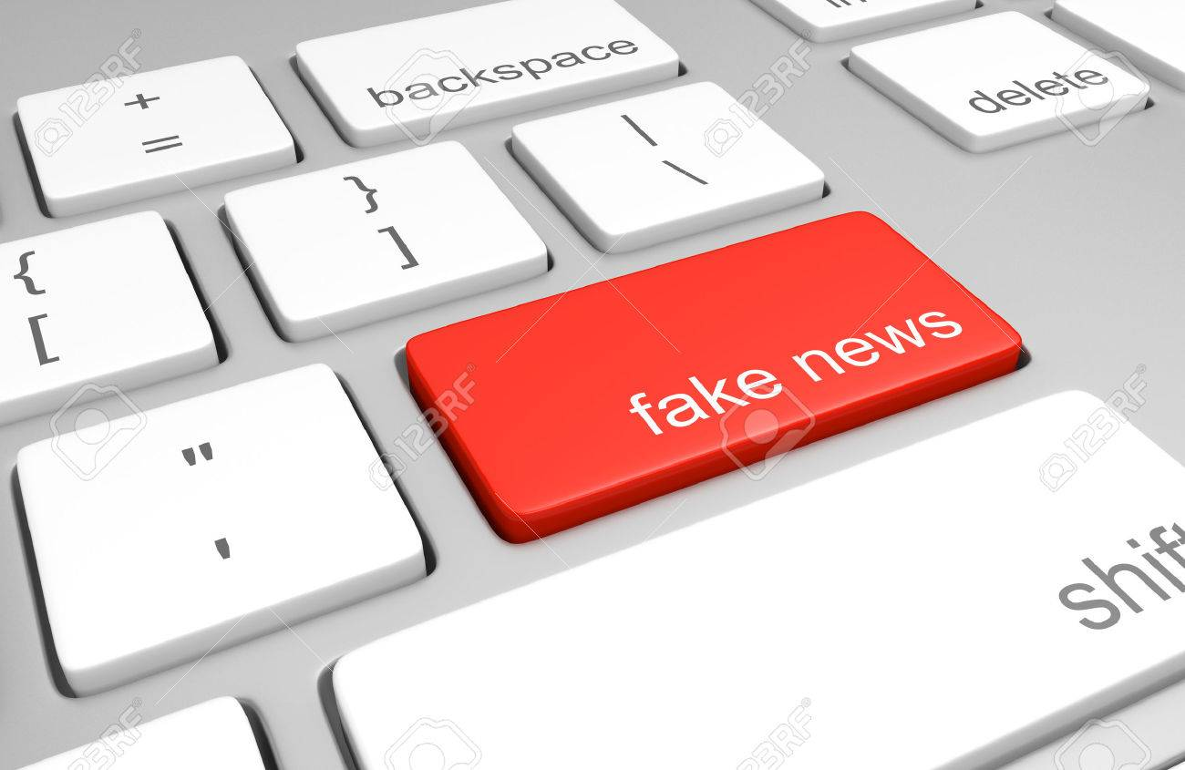 Computer key for accessing fake news websites that publish hoaxes and disinformation, 3D rendering - 68568110