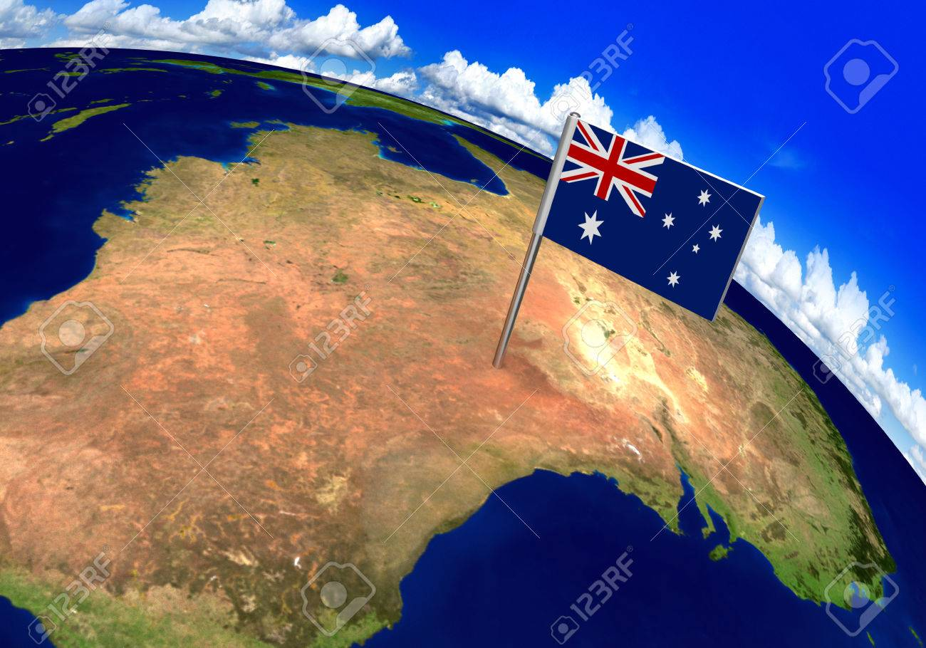 Flag marker over country of australia on world map 3d rendering flag marker over country of australia on world map 3d rendering parts of this image gumiabroncs Choice Image