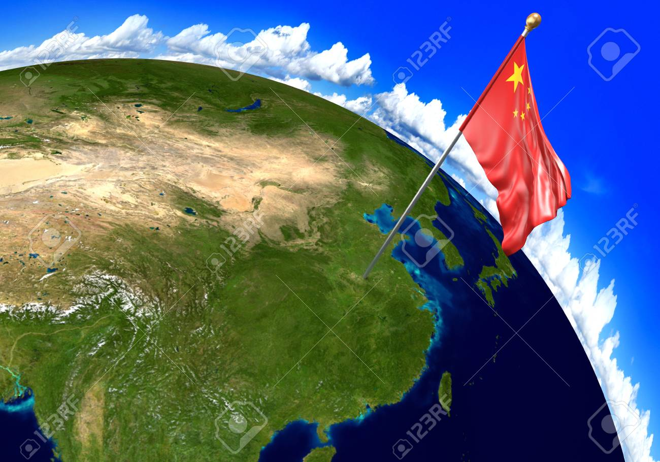 China National Flag Marking The Country Location On World Map ...
