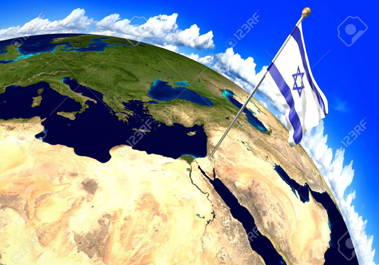 Israel national flag marking the country location on world map israel national flag marking the country location on world map 3d rendering parts of gumiabroncs Gallery
