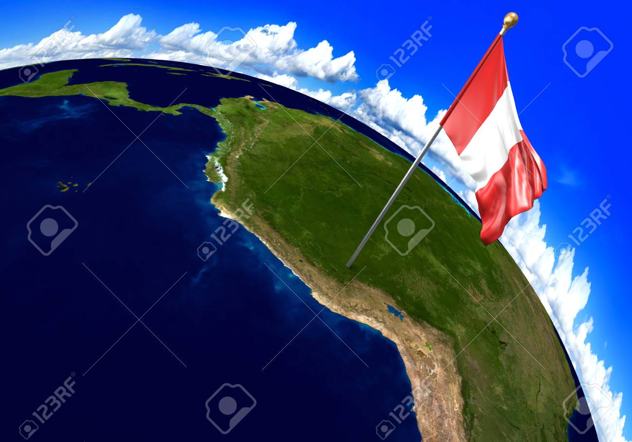 Peru National Flag Marking The Country Location On World Map ...