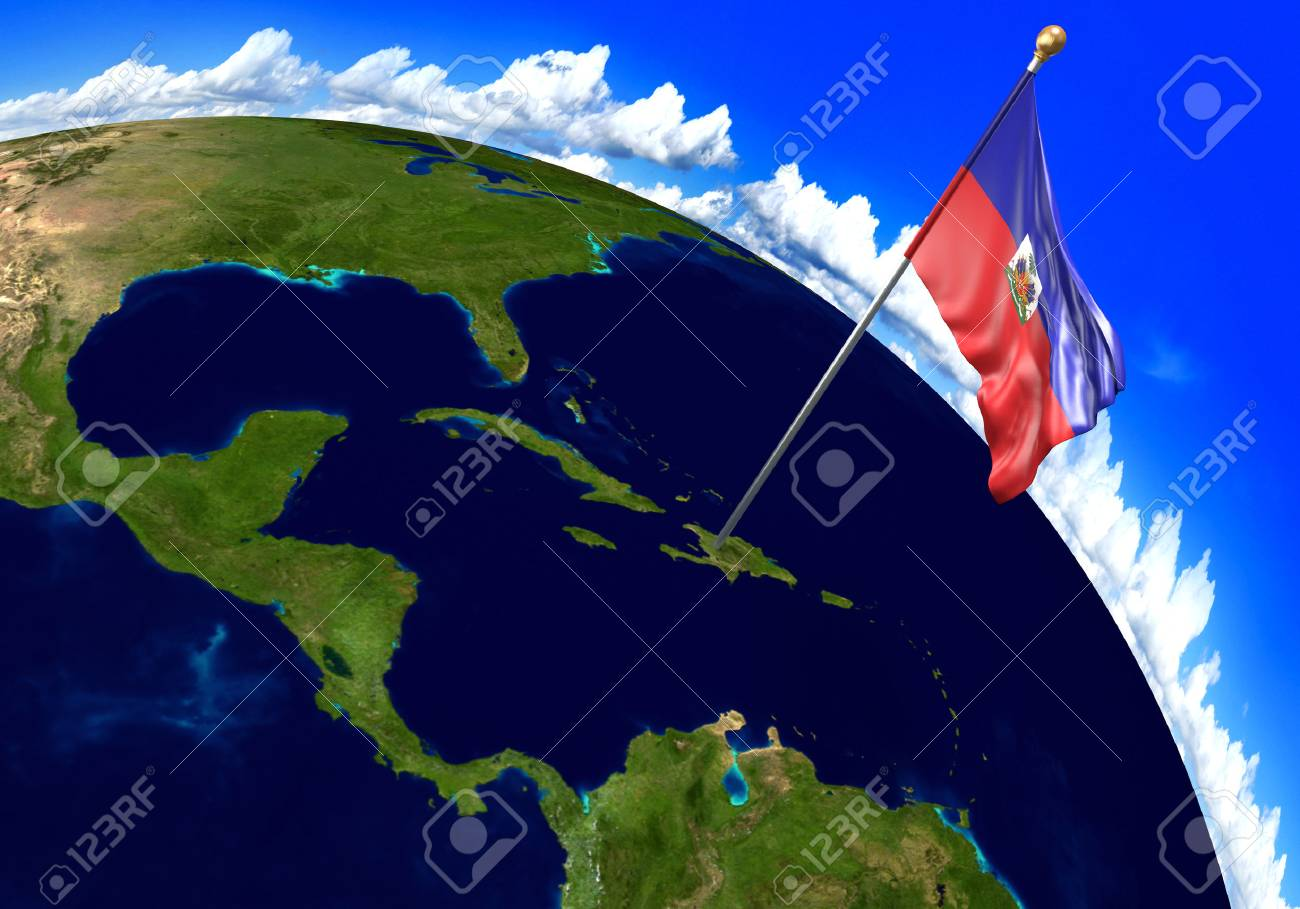 Haiti national flag marking the country location on world map haiti national flag marking the country location on world map 3d rendering parts of gumiabroncs Images