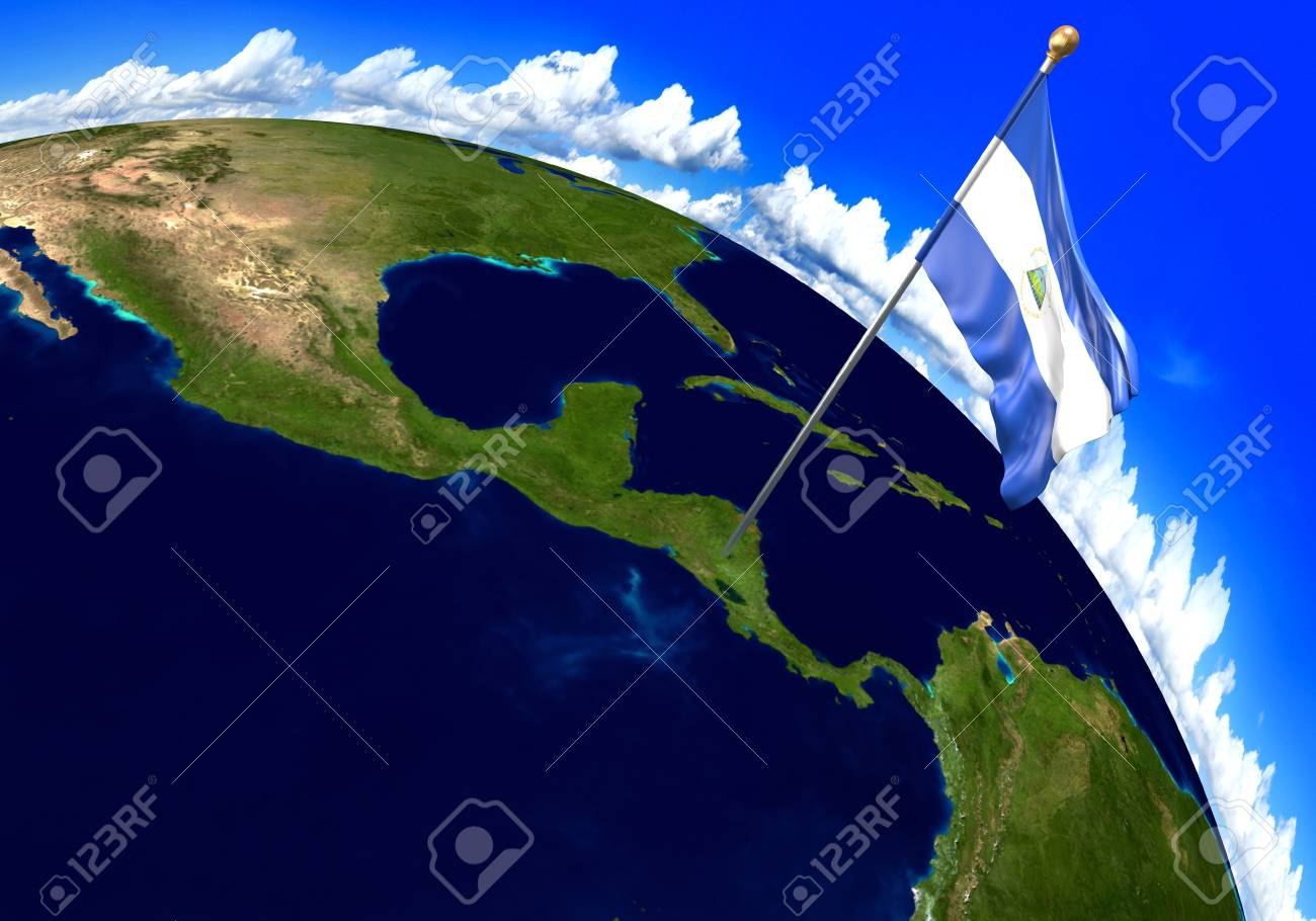 Nicaragua national flag marking the country location on world map nicaragua national flag marking the country location on world map 3d rendering parts of gumiabroncs Choice Image