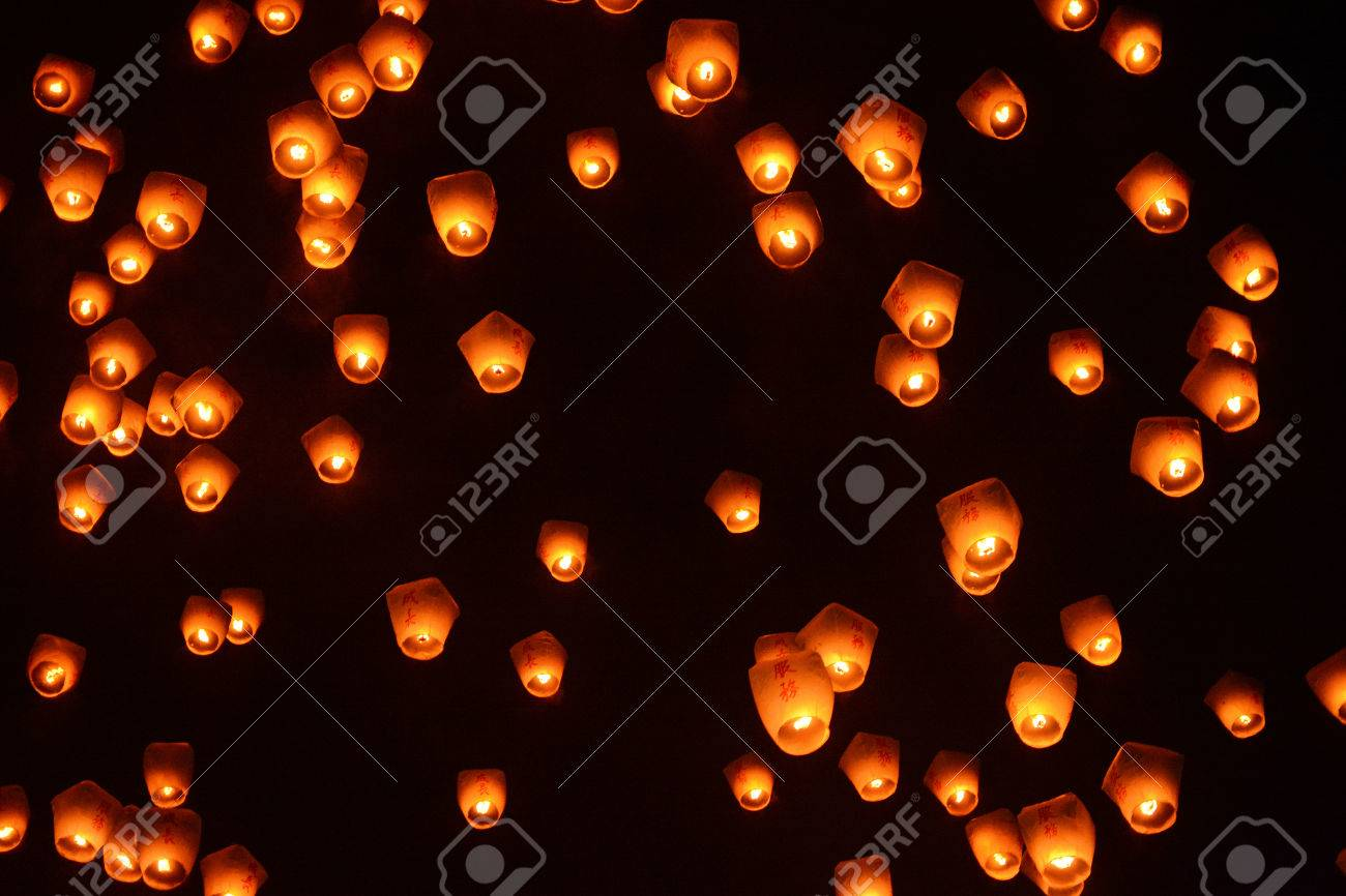 Lanterns In The Night Sky At The 2017 Pingxi Sky Lantern Festival Stock Photo Picture And Royalty Free Image Image 72433214