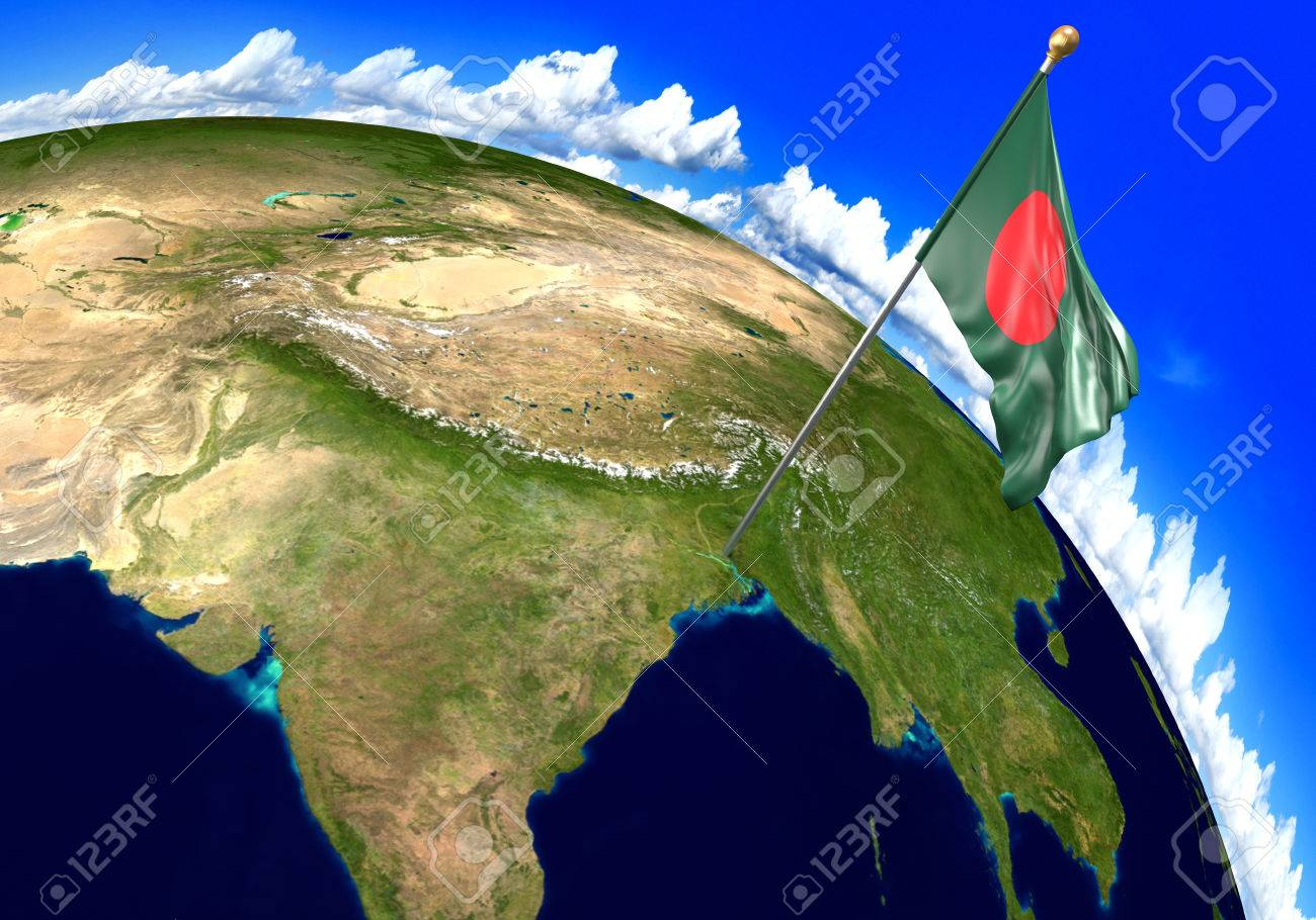 Picture of: Bangladesh National Flag Marking The Country Location On World Stock Photo Picture And Royalty Free Image Image 72959319