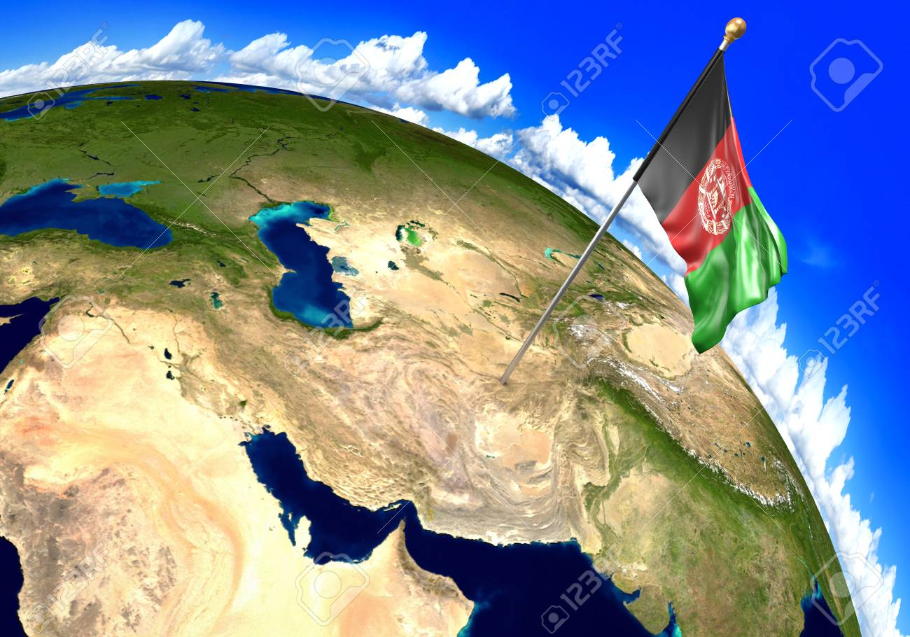 Afghanistan national flag marking the country location on world..