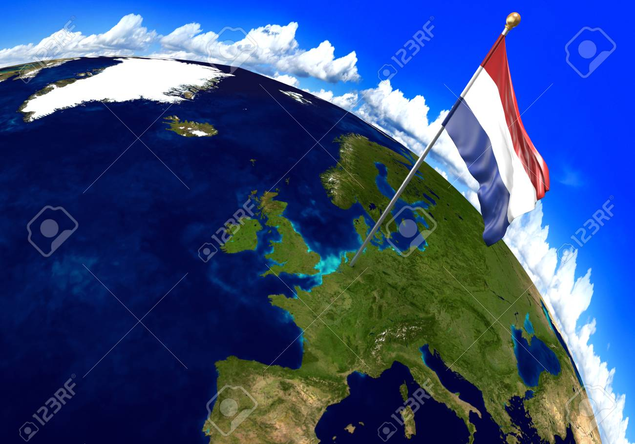 Netherlands National Flag Marking The Country Location On World Stock Photo Picture And Royalty Free Image Image 74509721