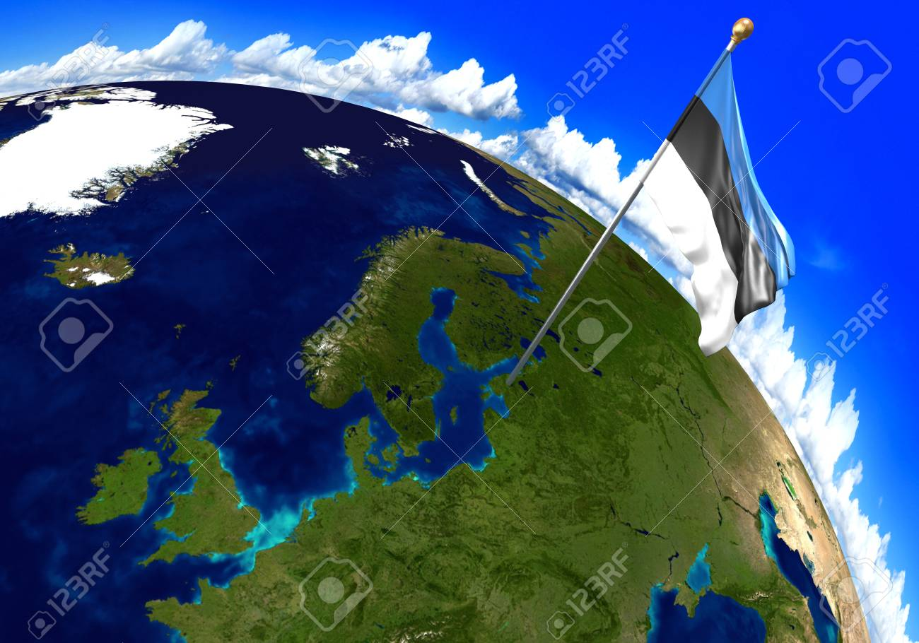 Estonia national flag marking the country location on world map estonia national flag marking the country location on world map 3d rendering parts of gumiabroncs Images