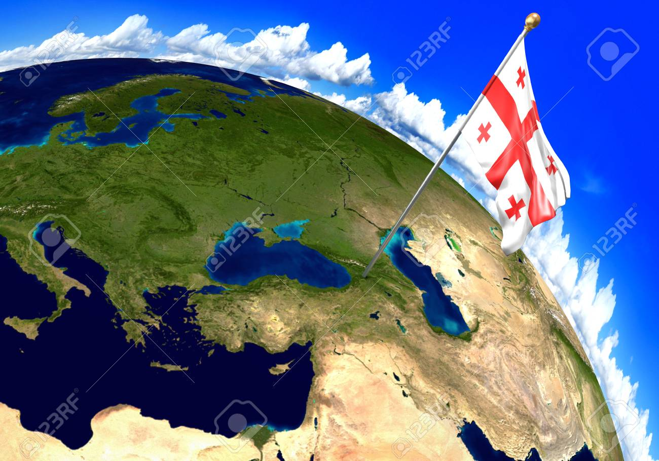 Where Is The Country Of Georgia Located On A Map.Georgia National Flag Marking The Country Location On World Map