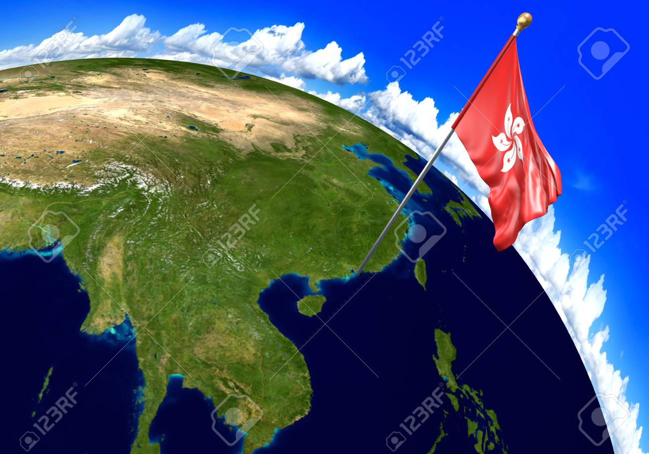 Hong Kong National Flag Marking The Country Location On World Map. 3D  Rendering, Stock