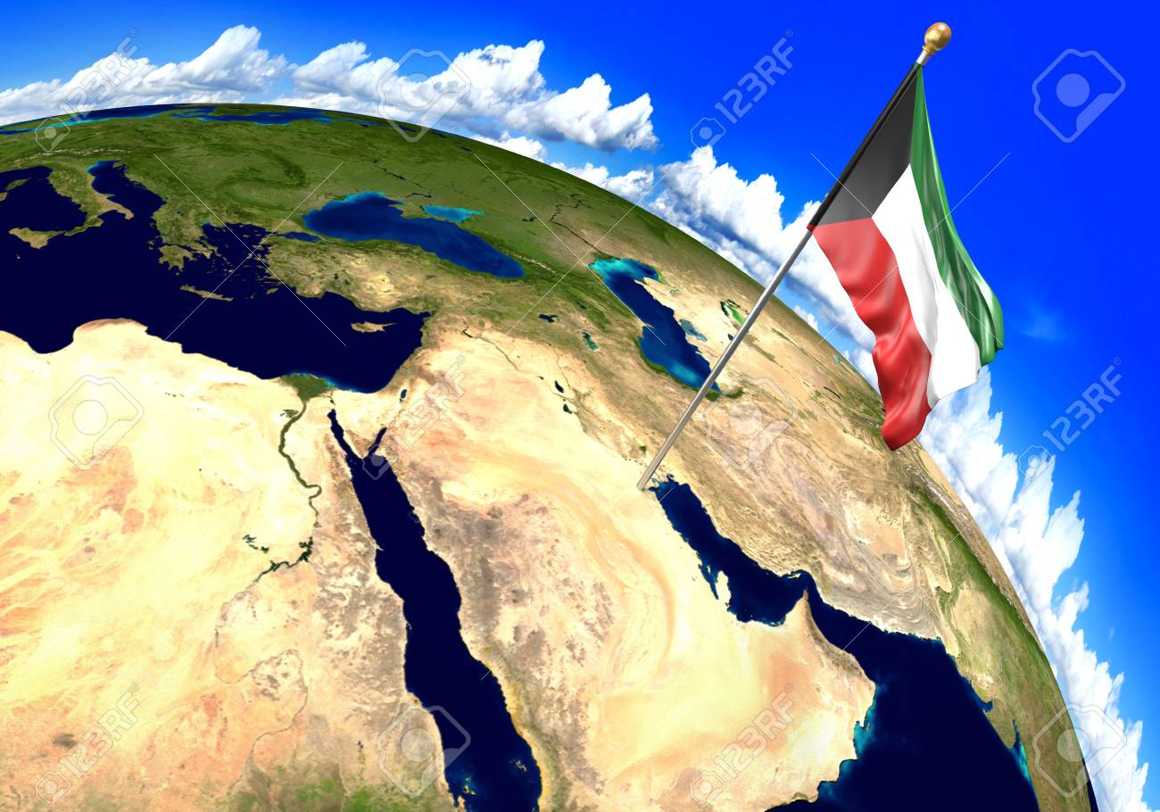 Kuwait national flag marking the country location on world map kuwait national flag marking the country location on world map 3d rendering stock photo gumiabroncs Gallery