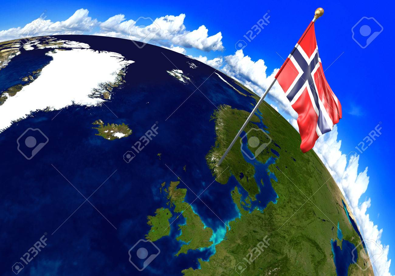 Norway National Flag Marking The Country Location On World Map