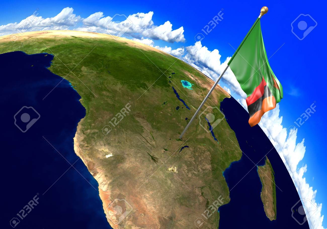 Zambia national flag marking the country location on world map stock photo zambia national flag marking the country location on world map gumiabroncs Choice Image