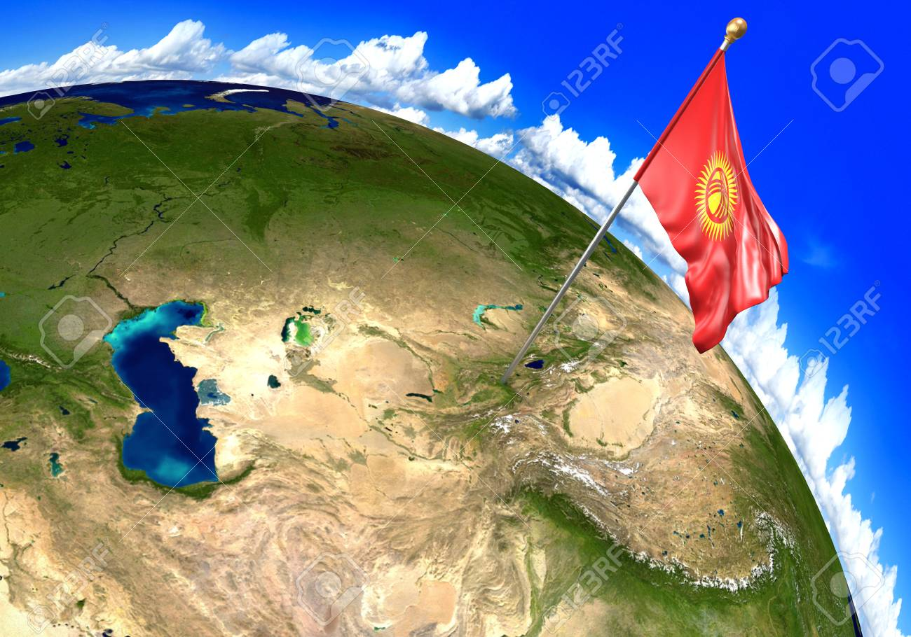 Picture of: Kyrgyzstan National Flag Marking The Country Location On World Stock Photo Picture And Royalty Free Image Image 86168984
