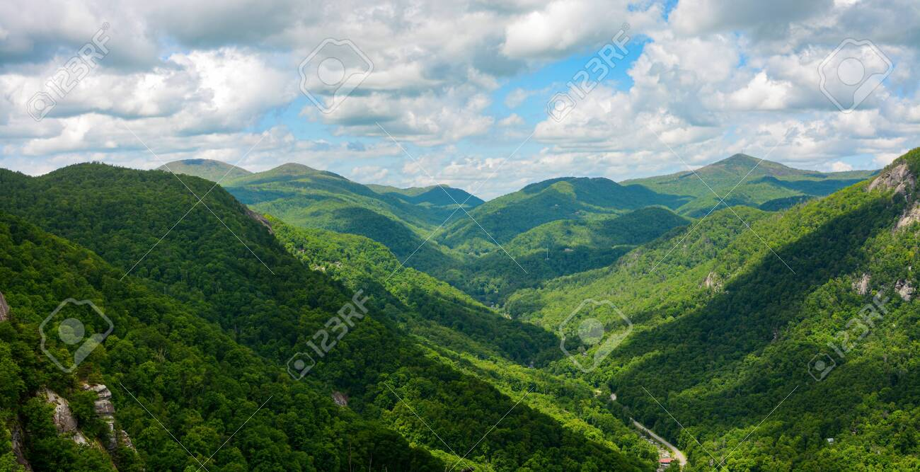 Wide View Of The Blue Ridge Mountains Seen From Chimney Rock