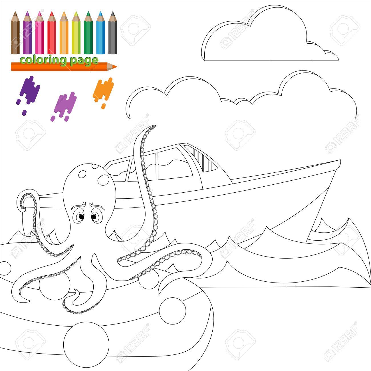 Vettoriale Pagina Da Colorare Per I Bambini Polpo E Seduto Sulla Pietra E In Attesa Di Navi Image 52561696