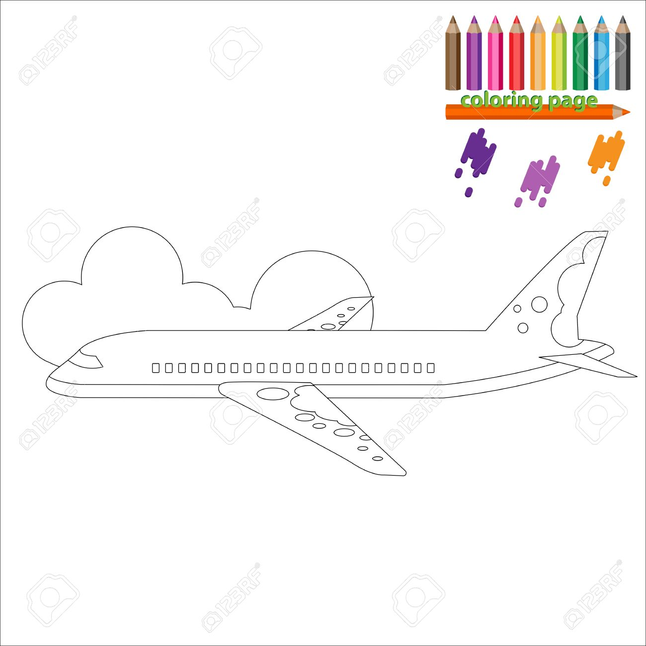 Malvorlage Mit Flugzeug, Business-Jet. Malen Für Kinder Lizenzfrei ...