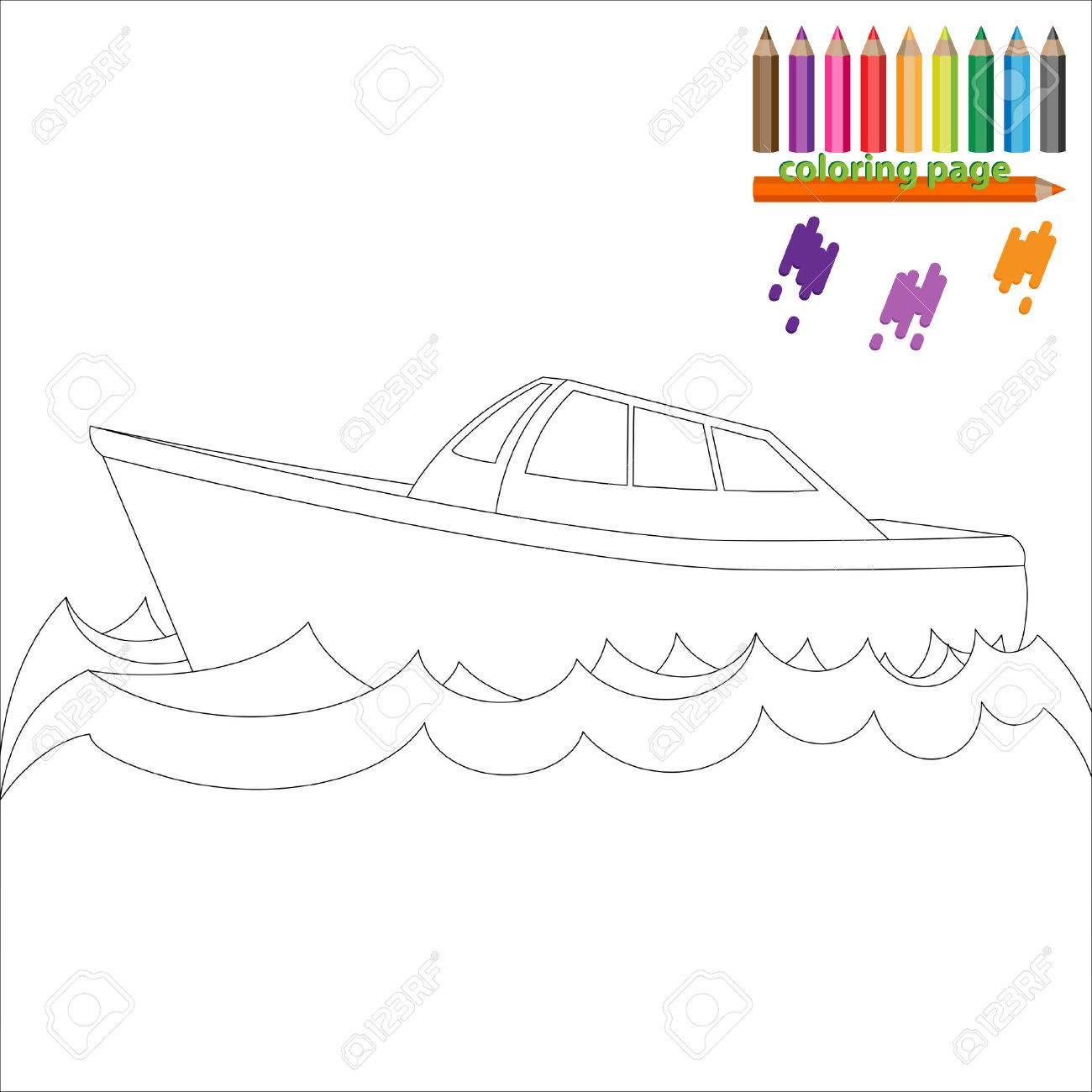 Malvorlage Mit Meer Schiff Boot Malen Fur Kinder Lizenzfrei