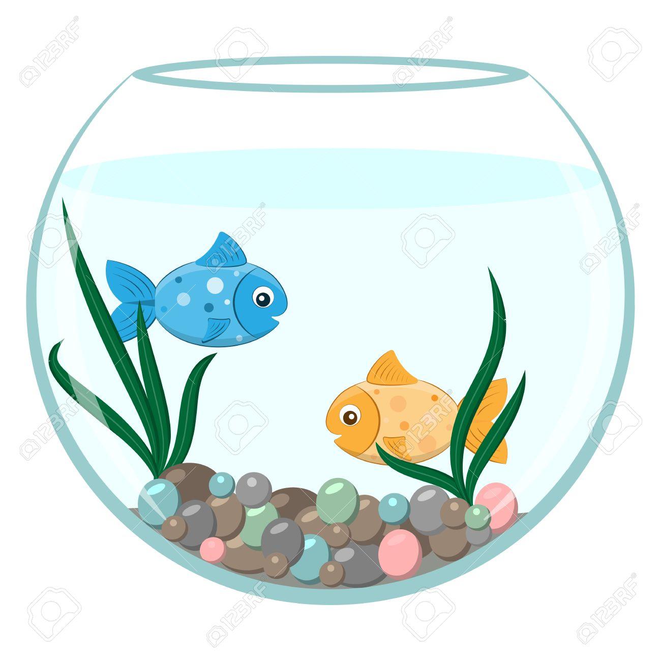 Golden And Blue Fish In The Round Aquarium Cartoon Stile