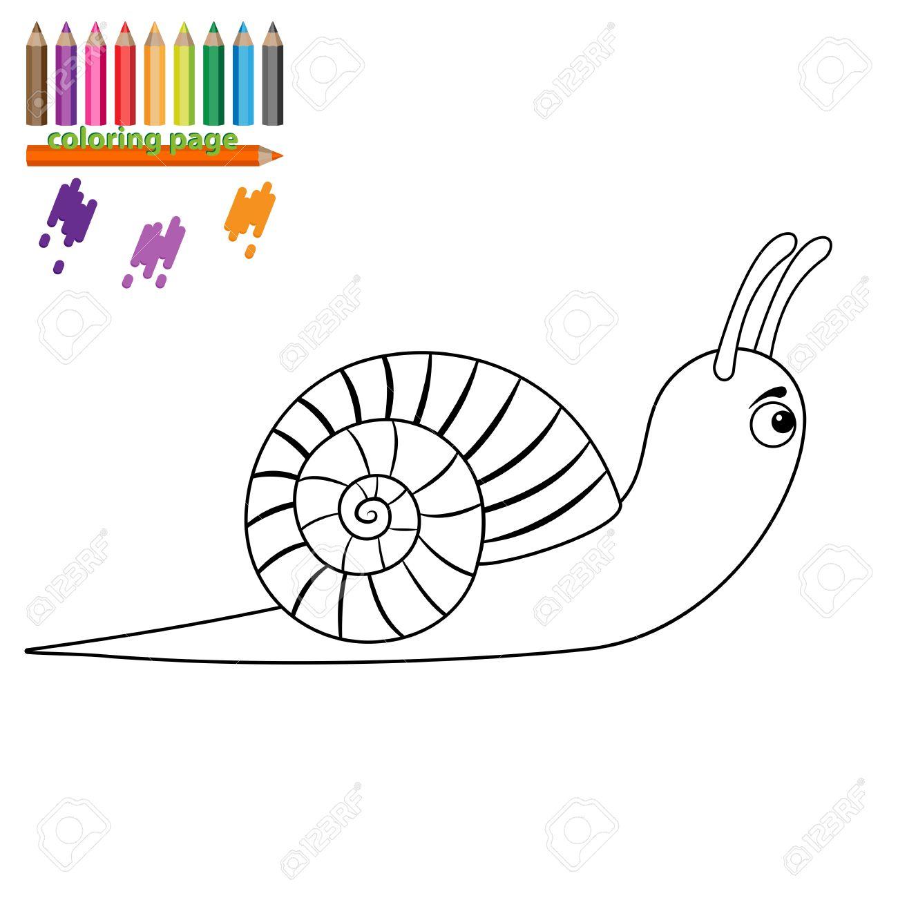 Dibujo Para Colorear Para Los Niños. Caracol. Estilo De Dibujos ...