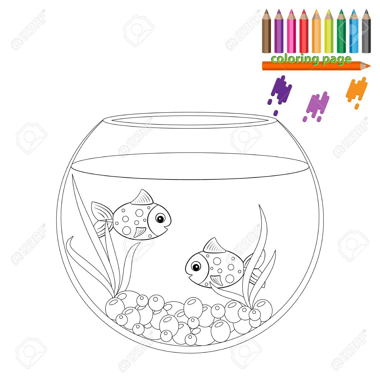 Magnífico Página Para Colorear Pecera Vacía Ideas - Dibujos Para ...