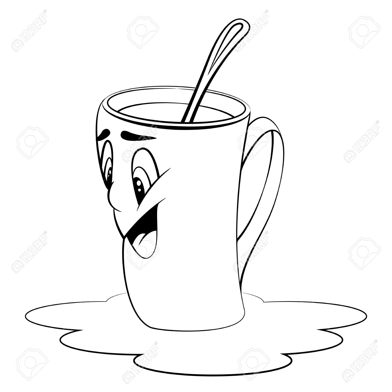Cartoon Cup With Coffee Mug With Surprised Facial Expression
