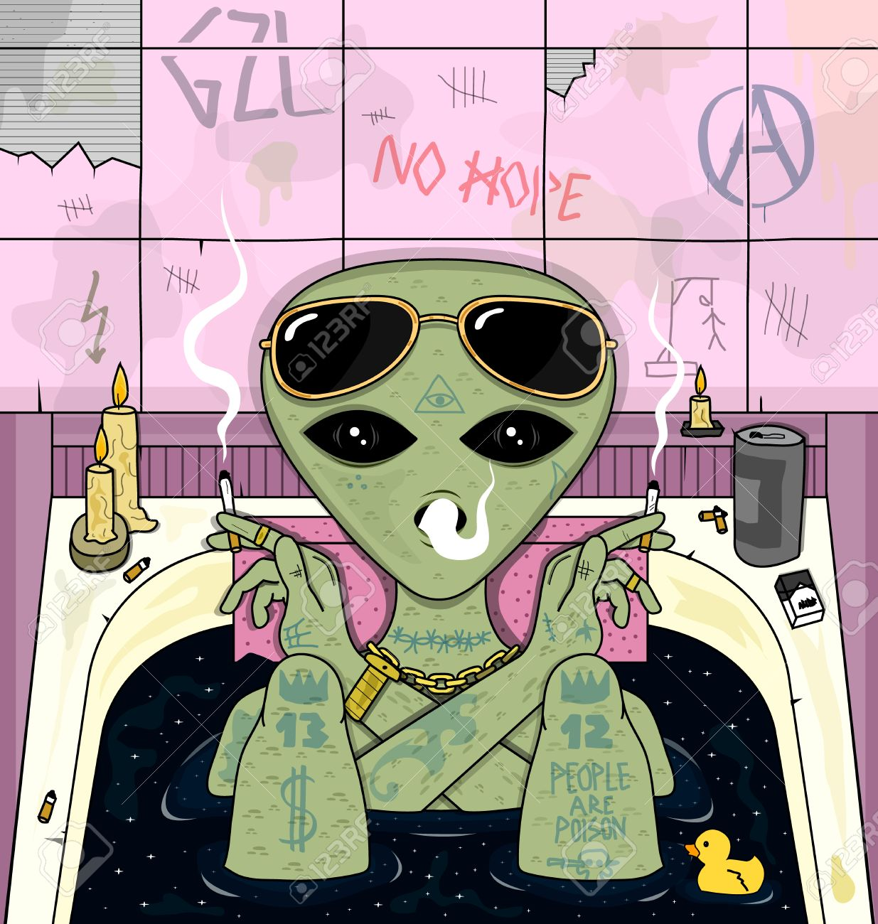 alien smoke and chill in bath psychedelic vector illustration