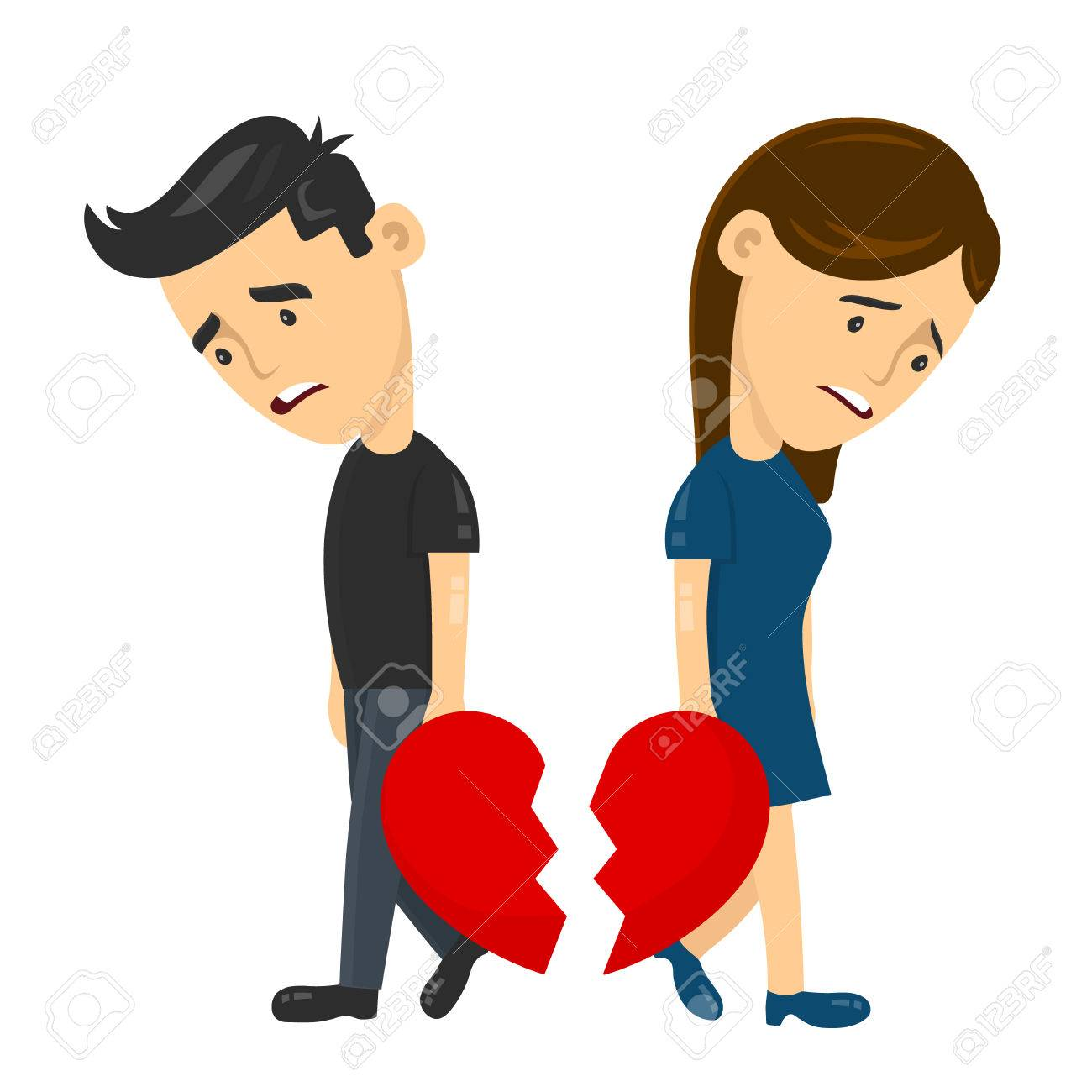 heartbroken sad young man guy and woman girl couple parting divorce. depression vector flat illustration fun character concept. Broken heart love, Despair Loneliness Unhappy Heartbroken. - 85470718