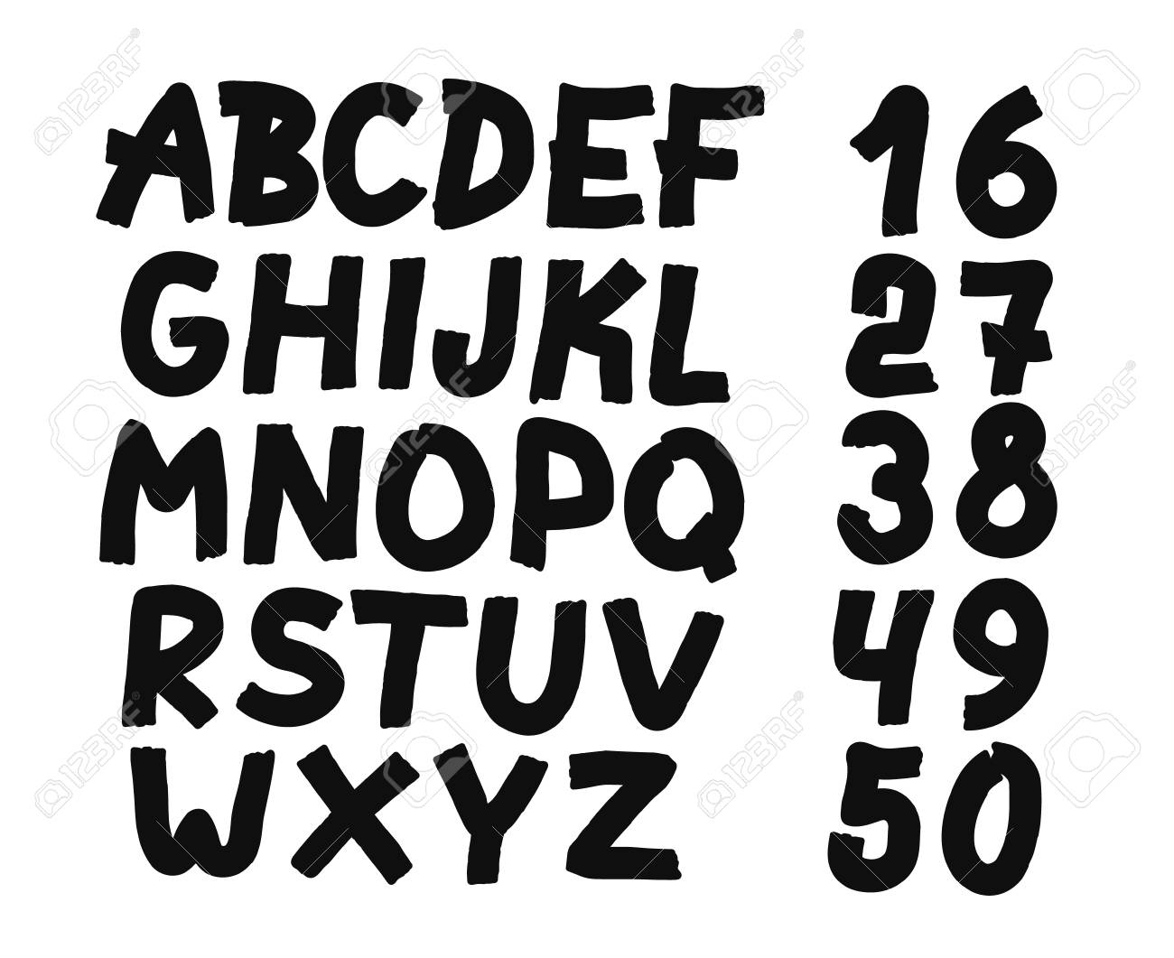 Hand Drawn Letters And Numbers Font Bold Comic Modern Marker Lettering Grunge