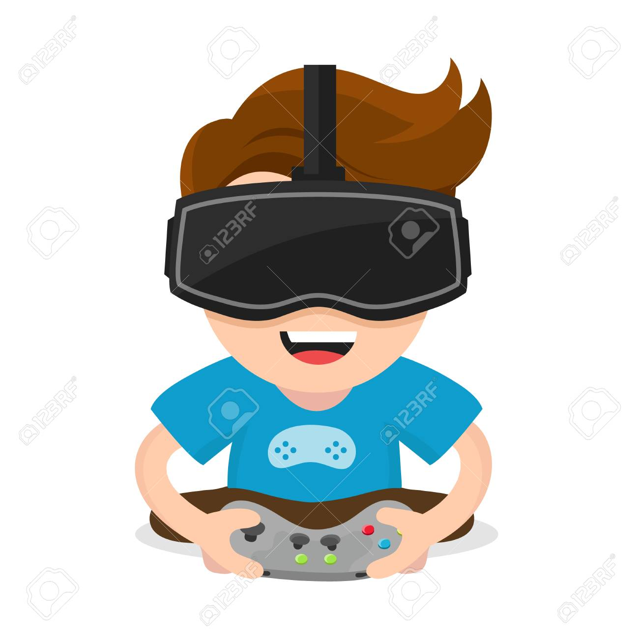 b9765e161f0 Isolated on white background. Virtual reality gamer vr concept. Cheerful  happy boy young man hold joystick plays video game in vr glasses.Vector flat