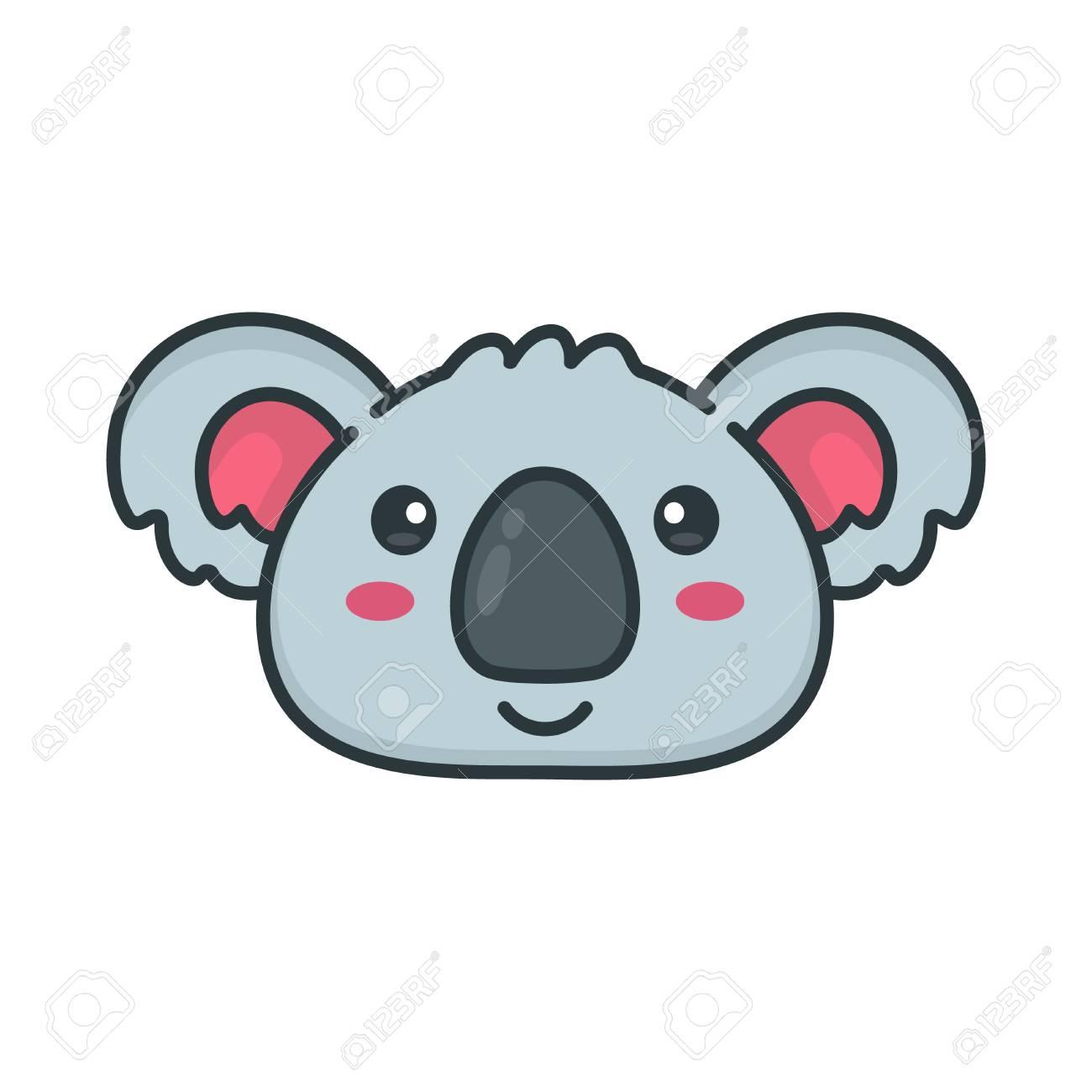 Cute Smiling Happy Koala Bear Face Vector Modern Line Outline