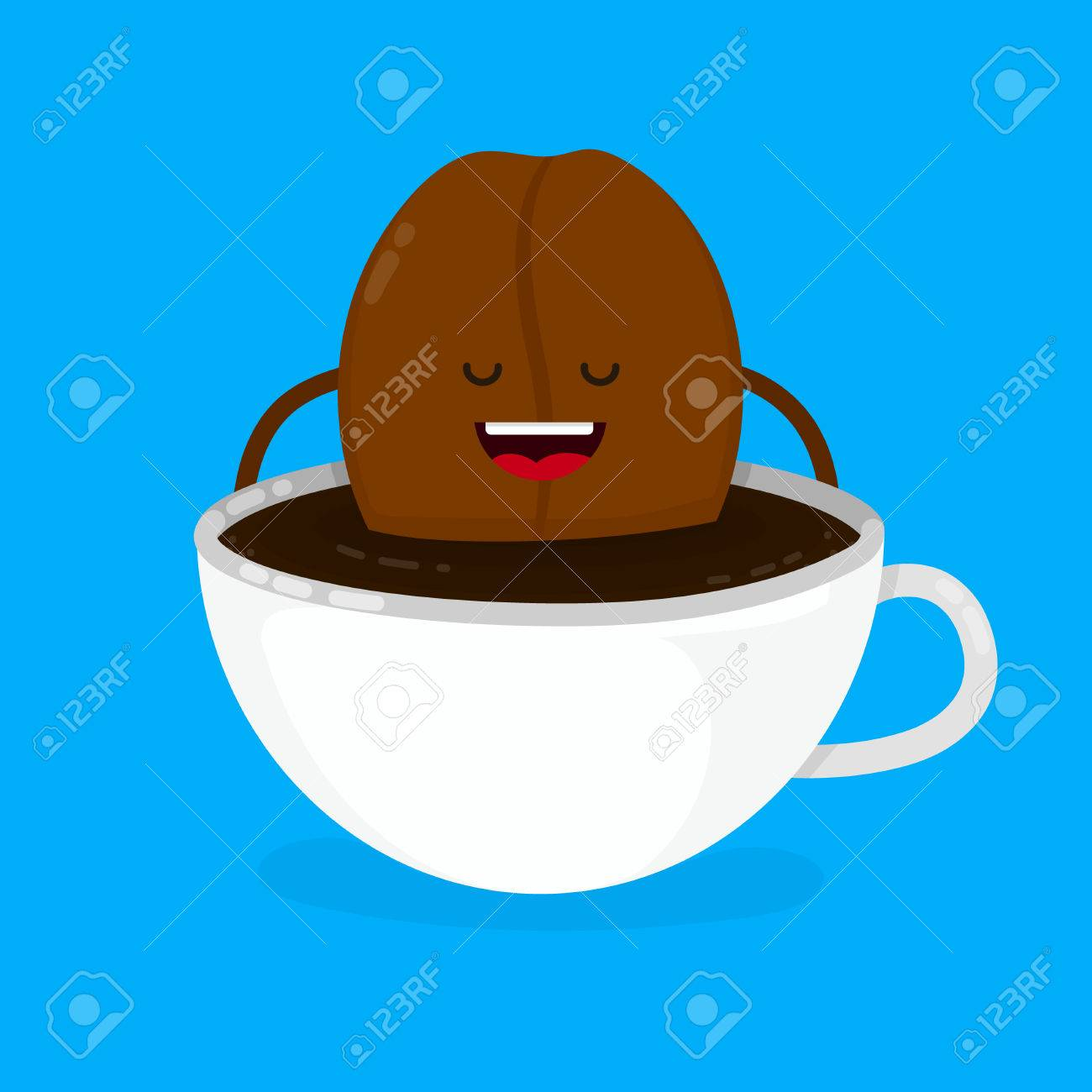 Cute Smiling Happy Coffee Bean Lies In Cup Vector Modern Style Flat Cartoon Character