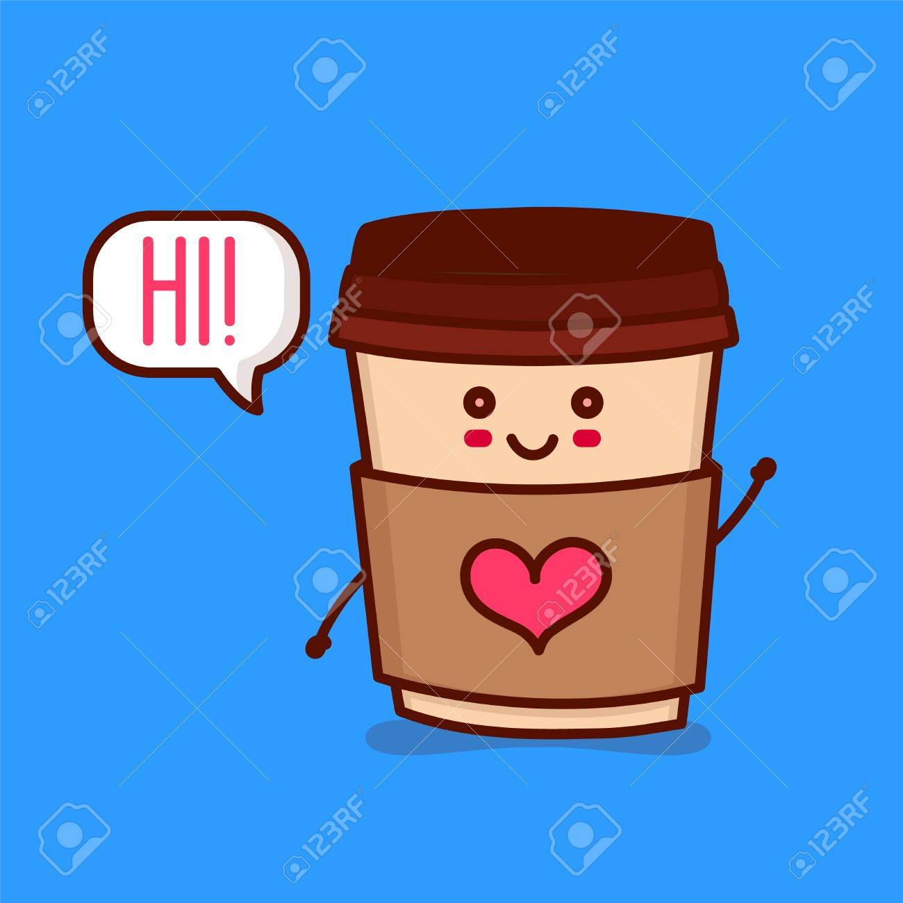 cute happy smiling paper coffee cup with heart say hi vector