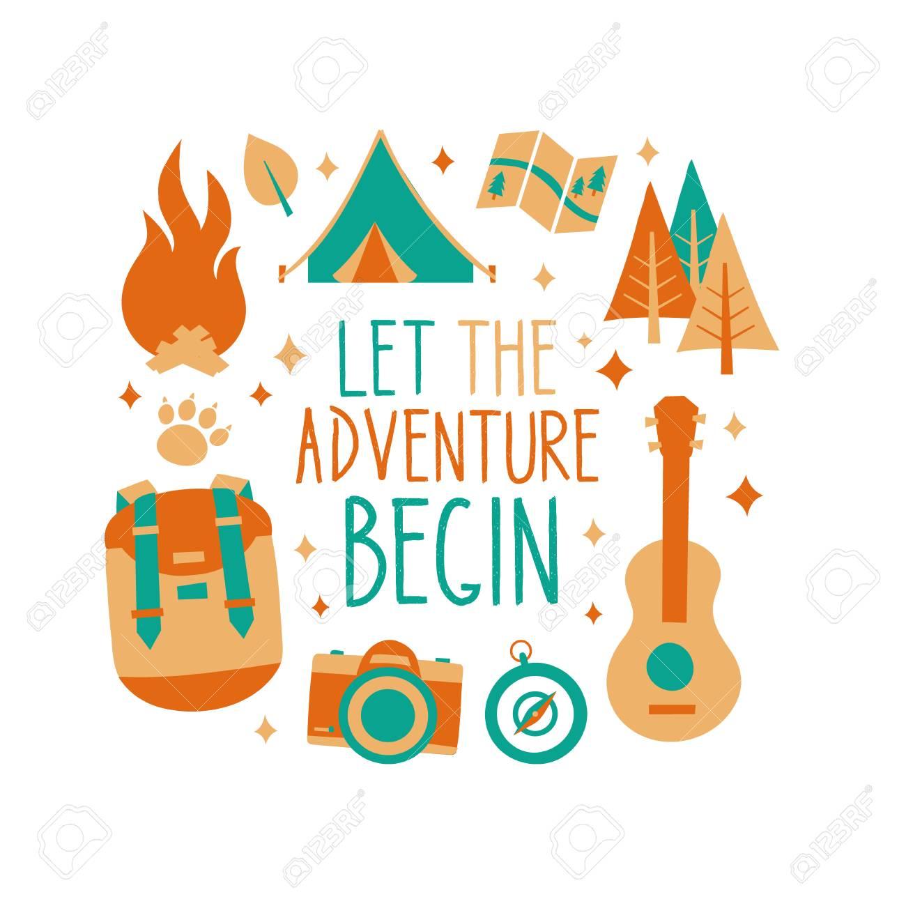 c6677a8a Let the adventure begin inscription card, t-shirt print design. Hipster  nature travel
