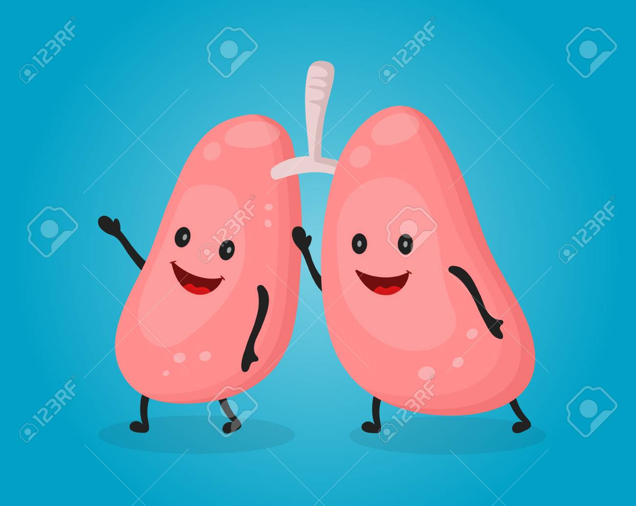 Happy Fun Cute Lungs. Vector Flat Cartoon Character Illustration ...