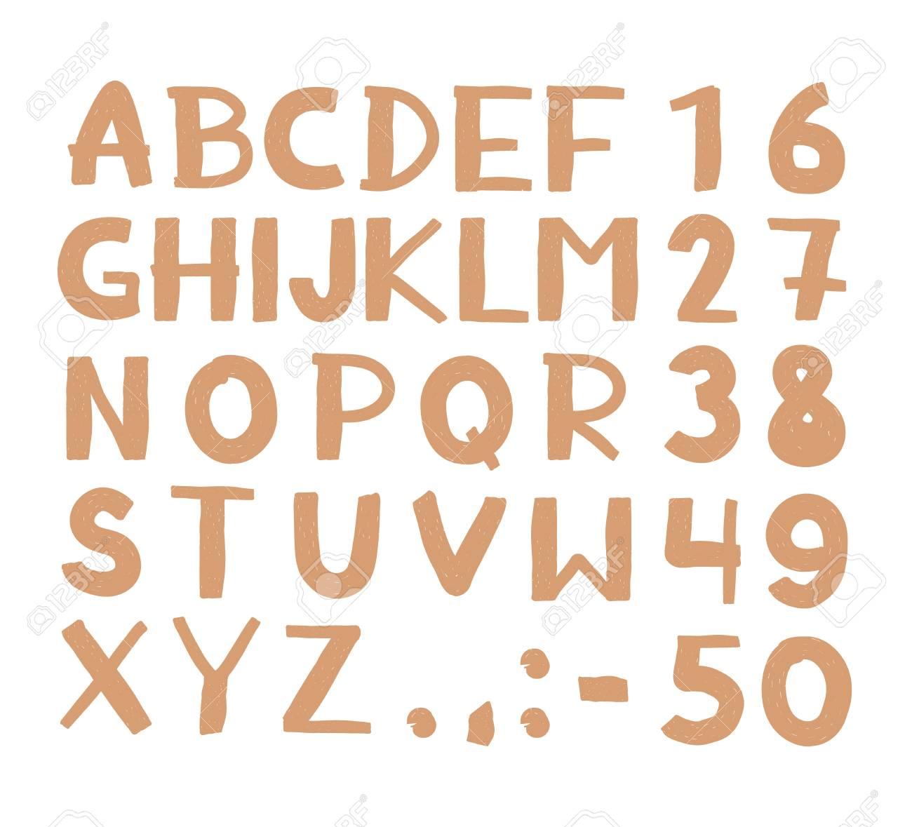 Hand Drawn Hipster Vintage Letters And Numbers Font Marker Lettering Grunge Sans