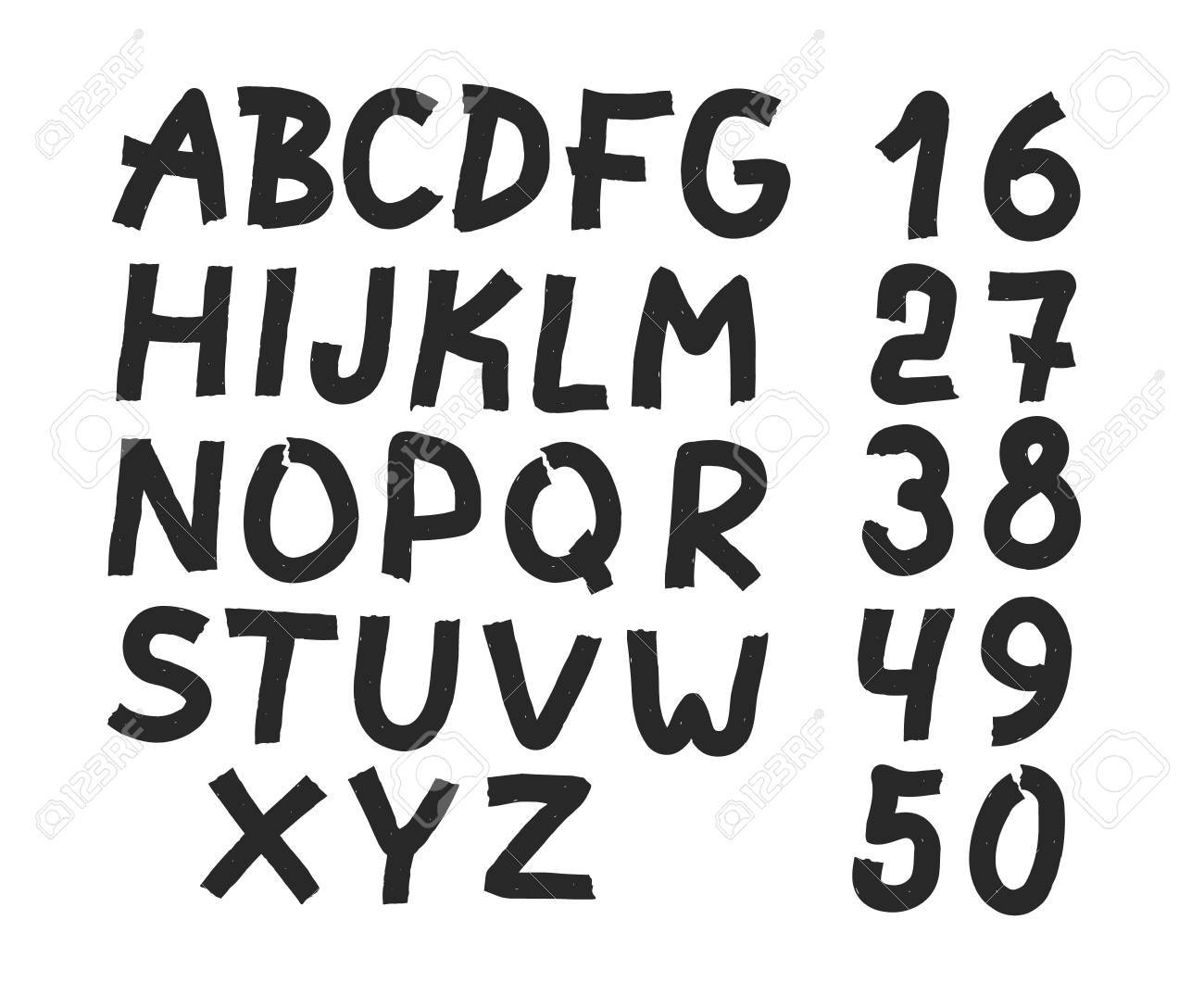 Hand drawn letters and numbers font bold comic modern marker lettering grunge font