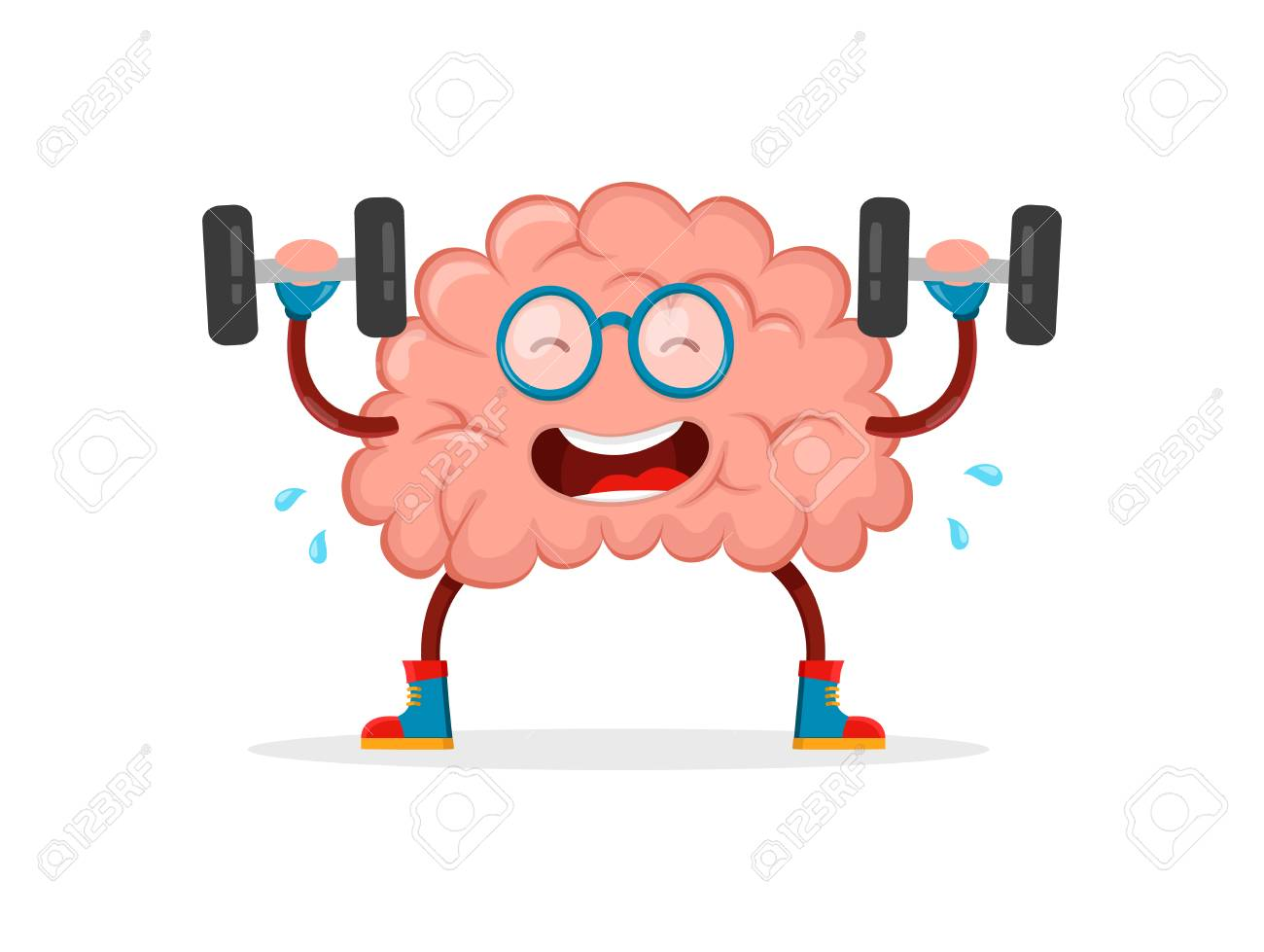 Train Your Brain. Brain Vector Cartoon Flat Illustration Fun ... for Smart Cartoon Brain  303mzq