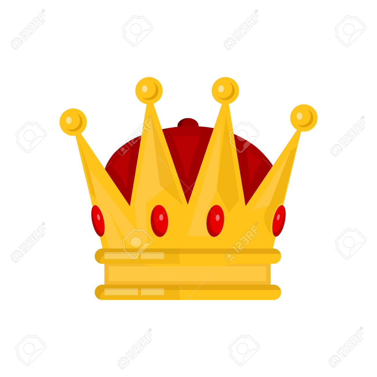 Gold King Crown Vector Flat Cartoon Illustration Icon Isolated On White Backgound Stock Vector