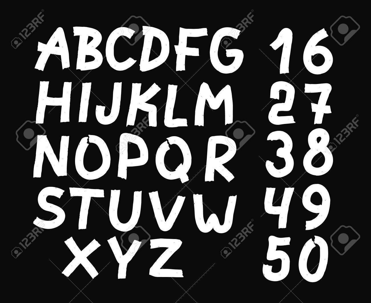 And Drawn Letters Numbers Font Bold Comic Modern Marker Lettering Grunge