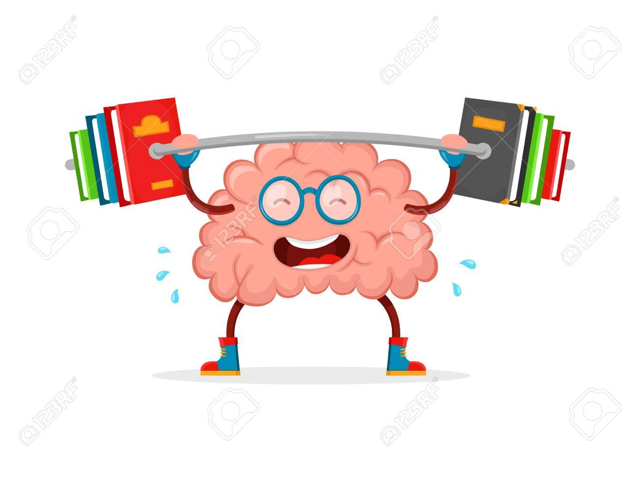 train your brain brain vector cartoon flat illustration fun