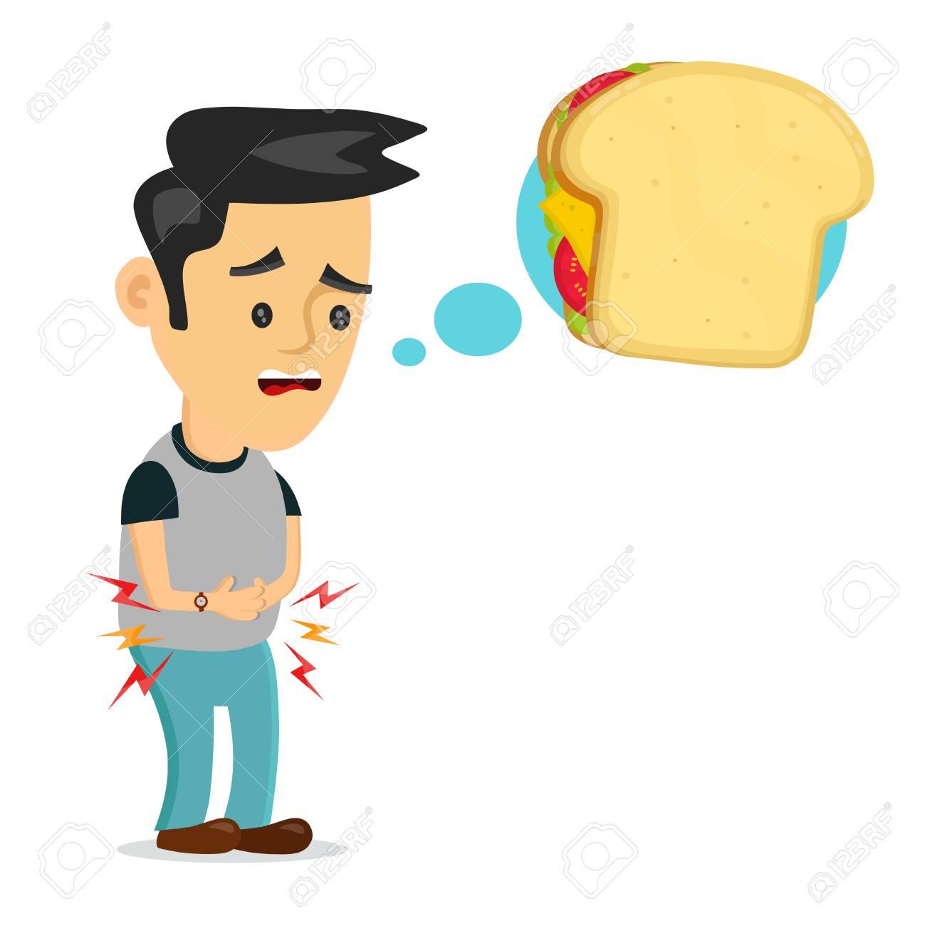 Hungry man thinking about sandwich. - 87529314